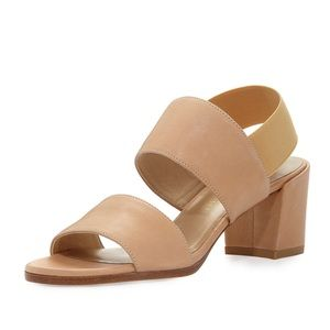 Stuart Weitzman Tan Leather City Sandal Block Heel